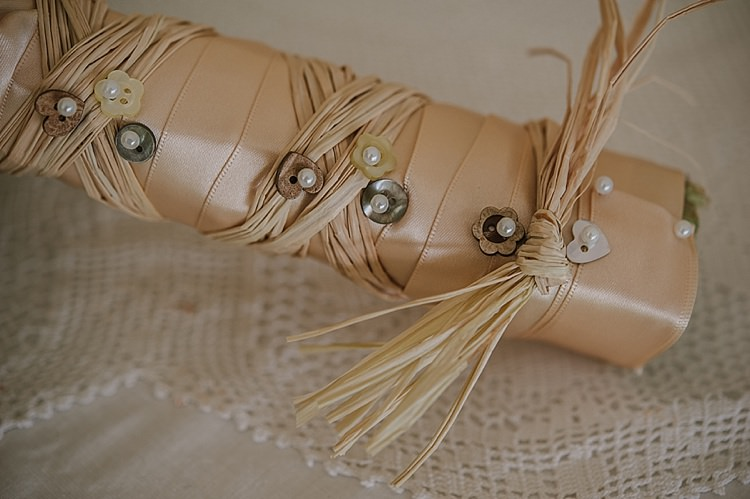 Ribbon Raffia Button Bouquet Wrap Bride Bridal Flowers Relaxed Rustic Autumn Barn Wedding http://karenflowerphotography.com/