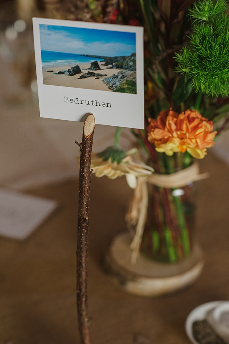 Polaroid Twig Table Names Relaxed Rustic Autumn Barn Wedding http://karenflowerphotography.com/