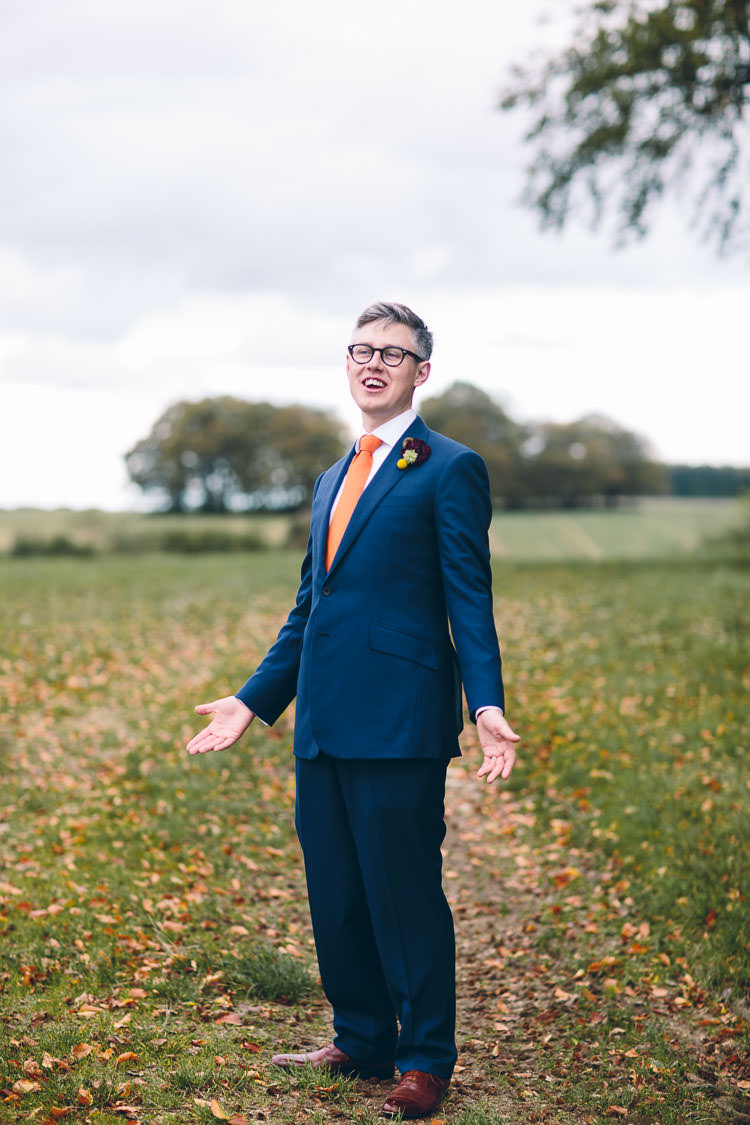 Navy Suit Orange Tie Groom Cotswolds Barn Laid Back Stylish Wedding http://albertpalmerphotography.com/