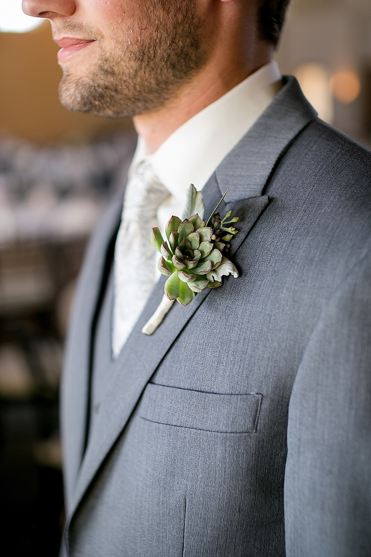 Succulent Buttonhole Groom Classic Red Winery Wedding Wisconsin http://www.jeanninemarie.com/