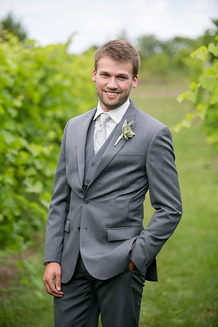 Grey Suit Groom Classic Red Winery Wedding Wisconsin http://www.jeanninemarie.com/