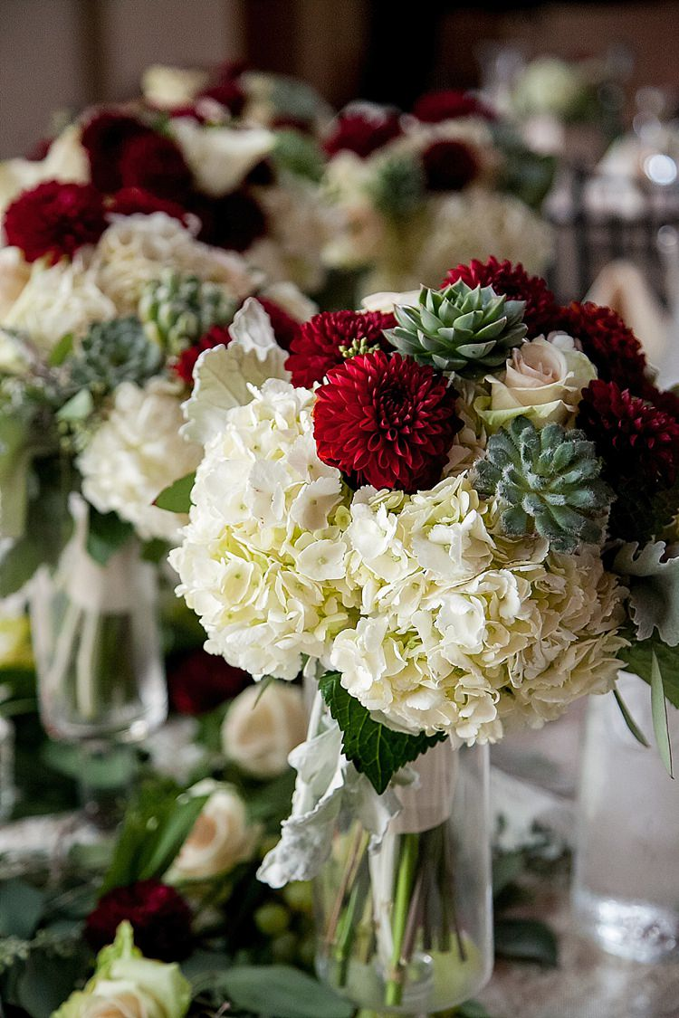 Hydrangea Dahlia Succulent Bouquet Bride Bridal Flowers Classic Red Winery Wedding Wisconsin http://www.jeanninemarie.com/