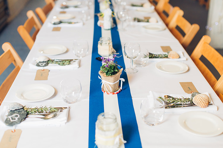 Blue Table Cloths Chilled DIY Beach Front Cafe Cornwall Yellow Blue Wedding http://missgen.com/