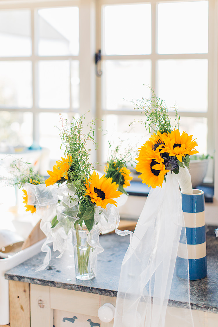 Sunflower Bouquets Flowers Bride Bridal Chilled DIY Beach Front Cafe Cornwall Yellow Blue Wedding http://missgen.com/
