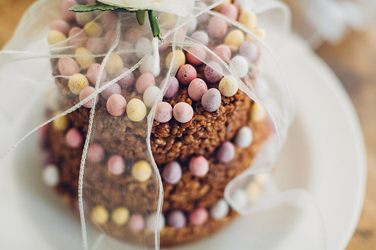 Mini Egg Rice Crispy Easter Cake Chilled DIY Beach Front Cafe Cornwall Yellow Blue Wedding http://missgen.com/