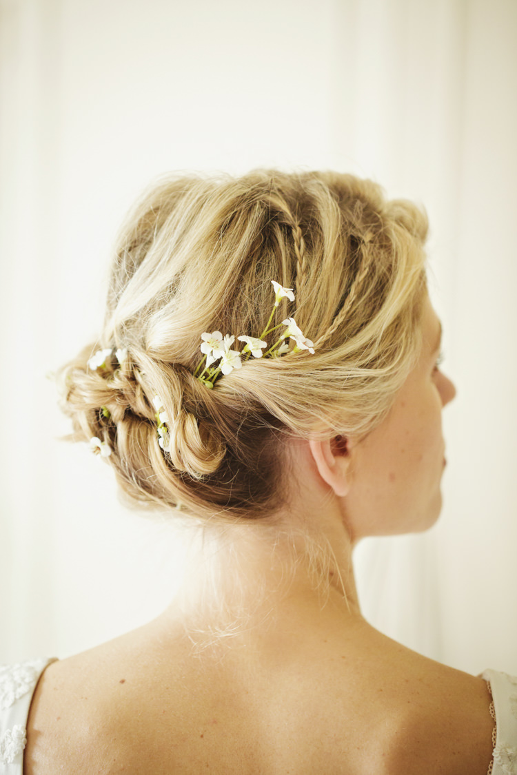 Twist Braid Plait Hair Bride Bridal Flowers  Natural Country Pub White Wedding http://www.gemmawilliamsphotography.co.uk/