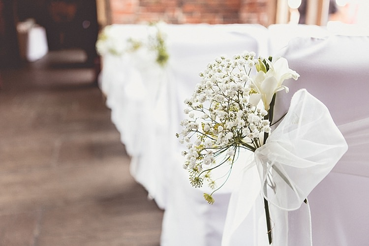 Baby Breath Gypsophila Pew End Ceremony Flowers Chairs Rural Rustic Relaxed Barn Wedding http://annaclarkephotography.com/