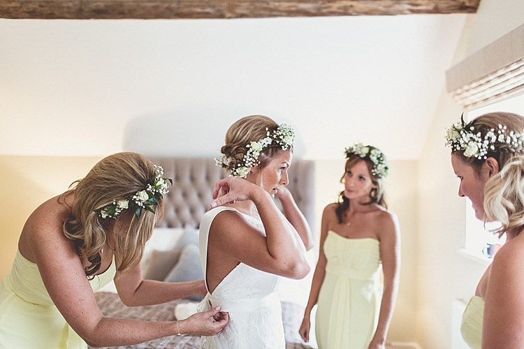 Flower Crowns Bridesmaids Yellow Rural Rustic Relaxed Barn Wedding http://annaclarkephotography.com/