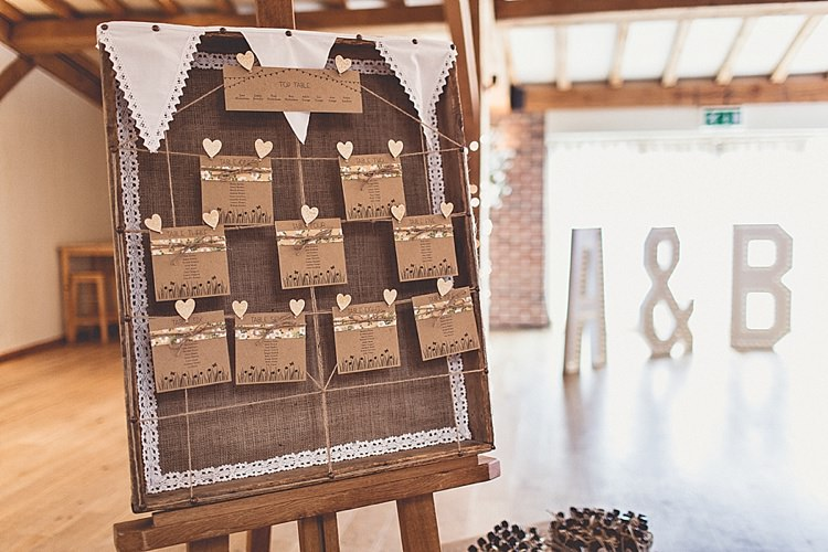 Hessian Frame Bunting Table Seating Plan Chart Rural Rustic Relaxed Barn Wedding http://annaclarkephotography.com/