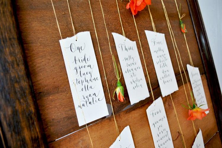 Modern calligraphy tutorial suspended flower wedding