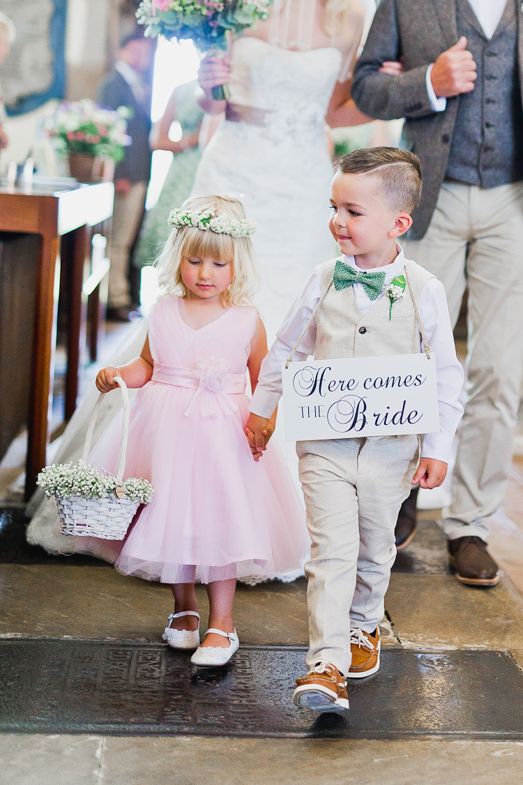 Here Comes The Bride Sign Page Boy Flower Girl Tweed Bow Ties Fresh Country Pink Green Wedding http://www.whitestagweddings.com/