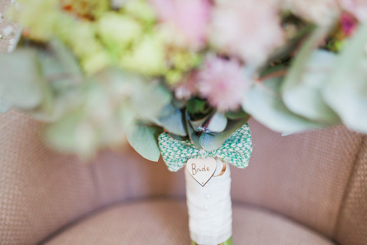 Bouquet Flowers Bride Bridal Tweed Bow Ties Fresh Country Pink Green Wedding http://www.whitestagweddings.com/