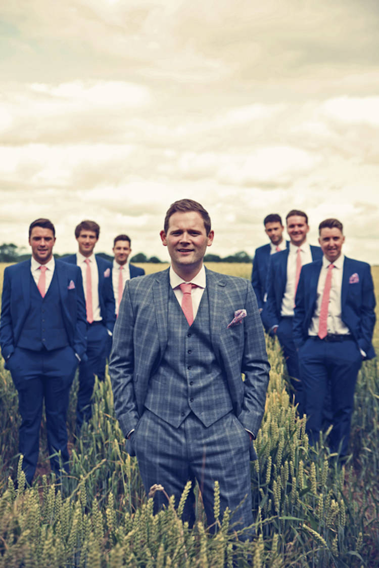 Grey Check Suit Groom Pink Tie Classic Elegant Village Hall Wedding http://www.jessicaraphaelphotography.com/