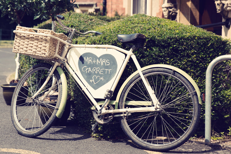 Bicycle Chalk Board Sign Classic Elegant Village Hall Wedding http://www.jessicaraphaelphotography.com/