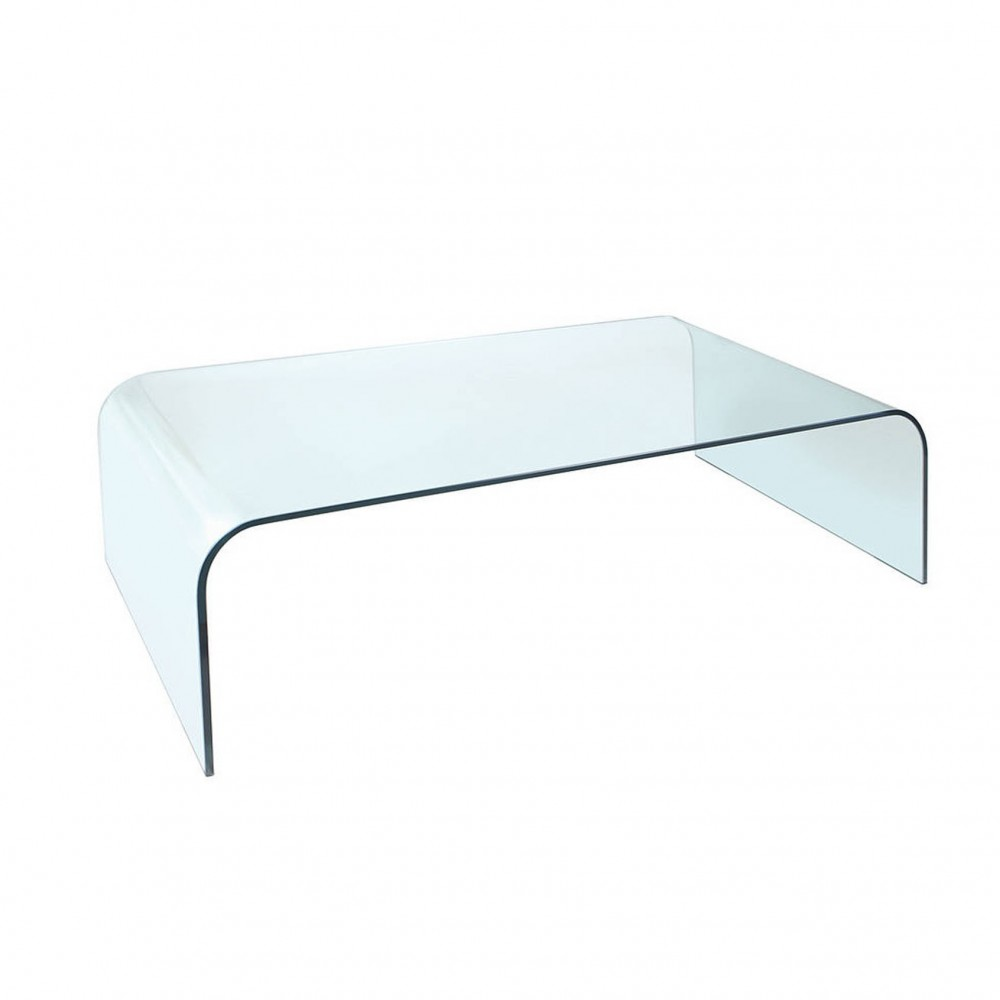 Curved Coffee Table Curved Glass Coffee Table - White Cactus