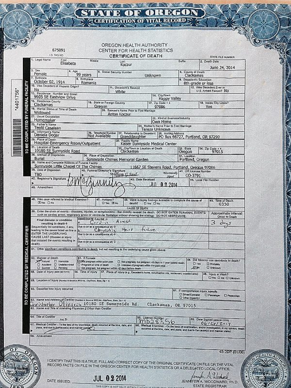 Free Oregon Birth Certificate for Persons Who Are Homeless White - birth certificate
