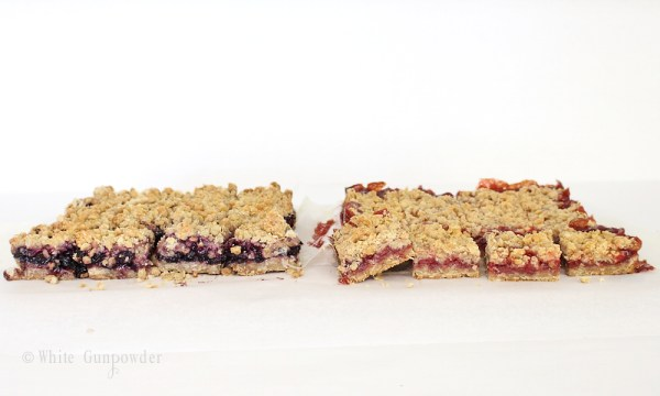 Crumble bars- strawberry and blueberry jam