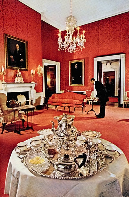 Social Sofa Red Room - White House Museum