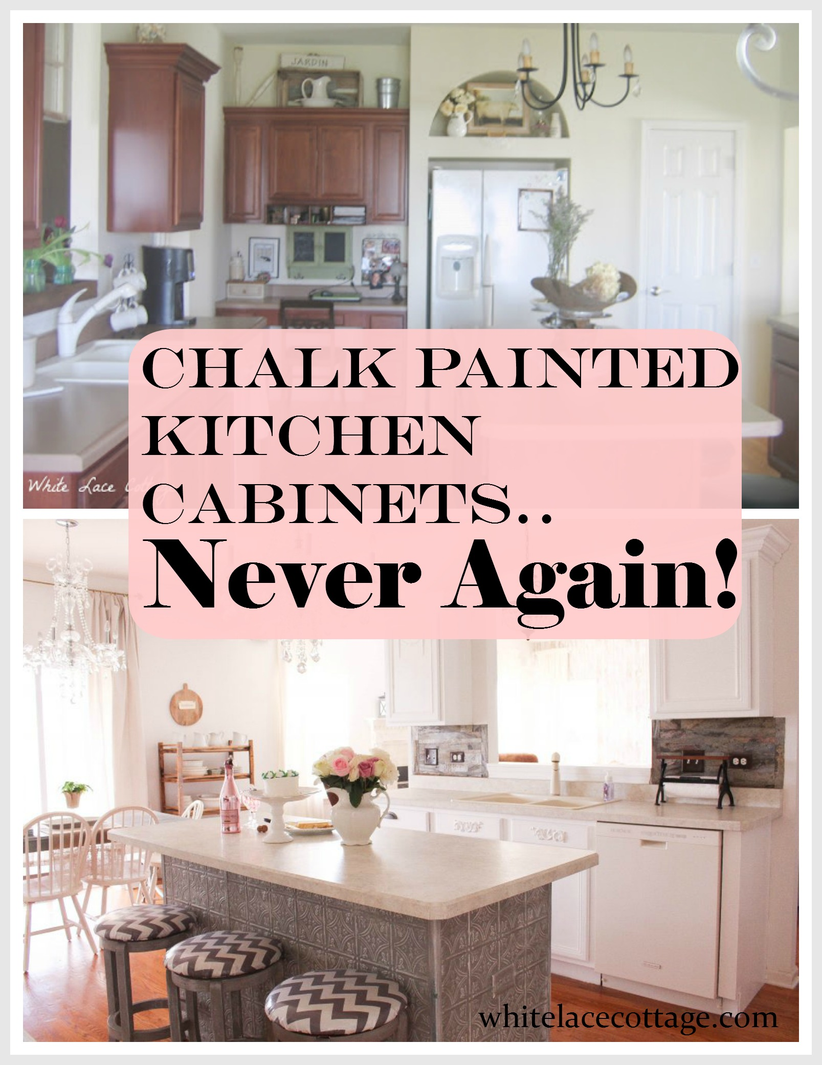 Cupboards Kitchen Chalk Painted Kitchen Cabinets Never Again White Lace Cottage