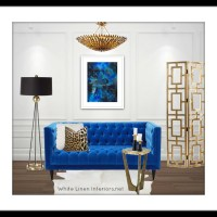 Apartment Living: Blue + Art Interior Design Board