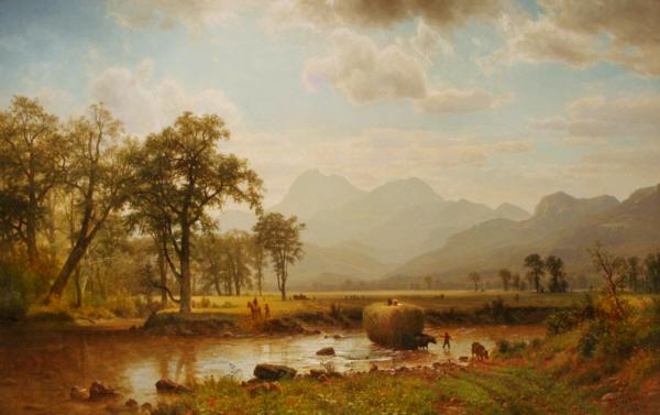 Haying, Conway Meadows by Albert Bierstadt