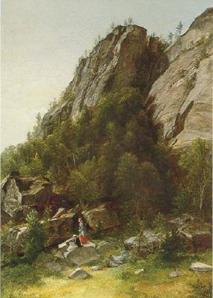 Cathedral Ledge with Artist Sketching by Asher B. Durand