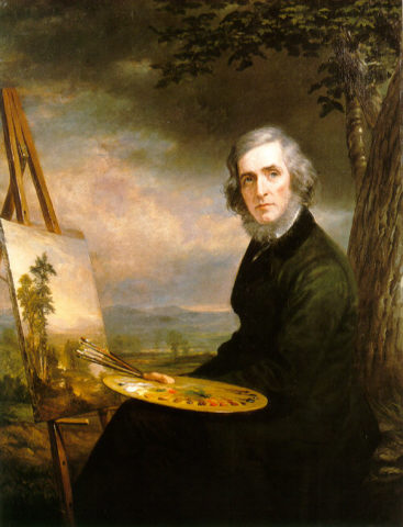 Portrait of Asher B. Durand (painting in Franconia Notch, 1855) by Daniel Huntington