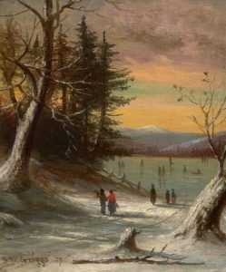 Ice Skating, Mount Washington from Walker's Pond by Samuel W. Griggs
