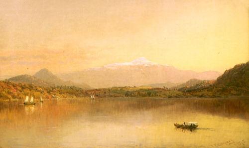 Mount Washington from Lake Sebago, Maine by Jasper Francis Cropsey
