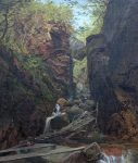 The Flume with Boulder by John Frederick Kensett
