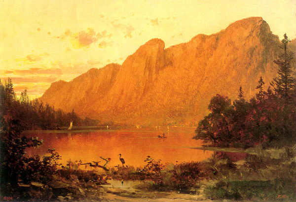 Eagle Cliff from Profile Lake at Sunset by Thomas Hill