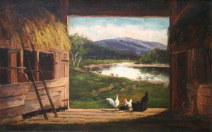 Old Barn at Jackson with Mount Washington and the Ellis River by Frank Henry Shapleigh