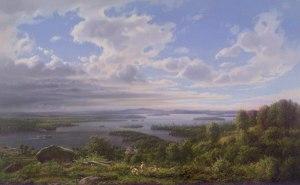 Lake Winnipesaukee with Lady of the Lake Steamship by Ferdinand Richardt