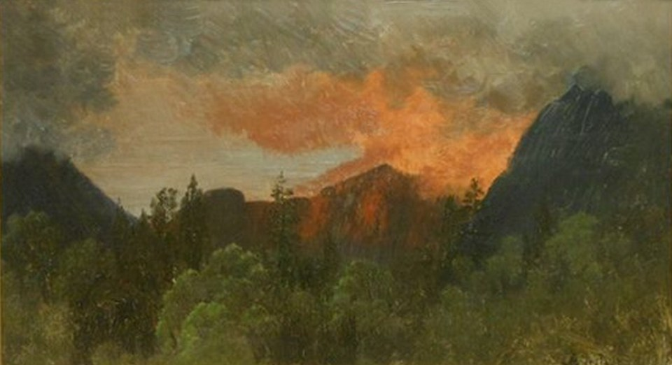 Eagle Cliff from Lafayette Place, Franconia Notch by Albert Bierstadt