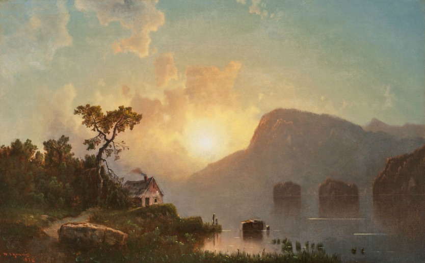 Evening on Lake Winnepiseogee [sic] by William Sheridan Young