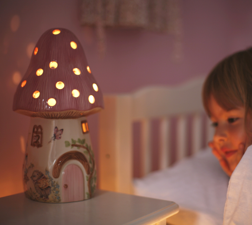 Girls Pink Bedroom Wallpaper Childrens Pink Fairy Mushroom Lamp White Rabbit England