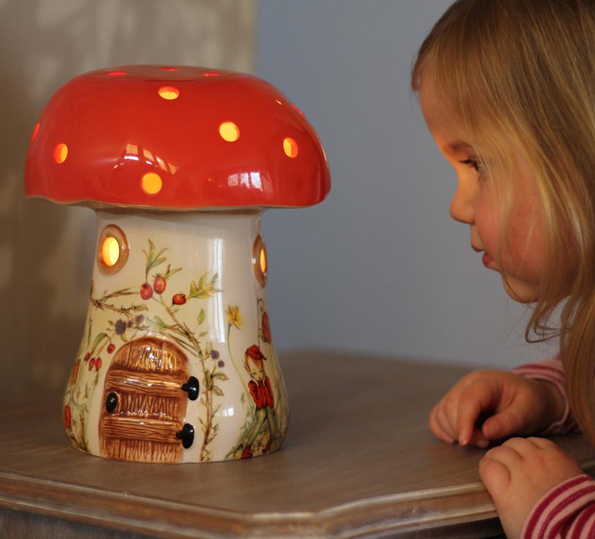 Childrens Red Elf Mushroom Lamp