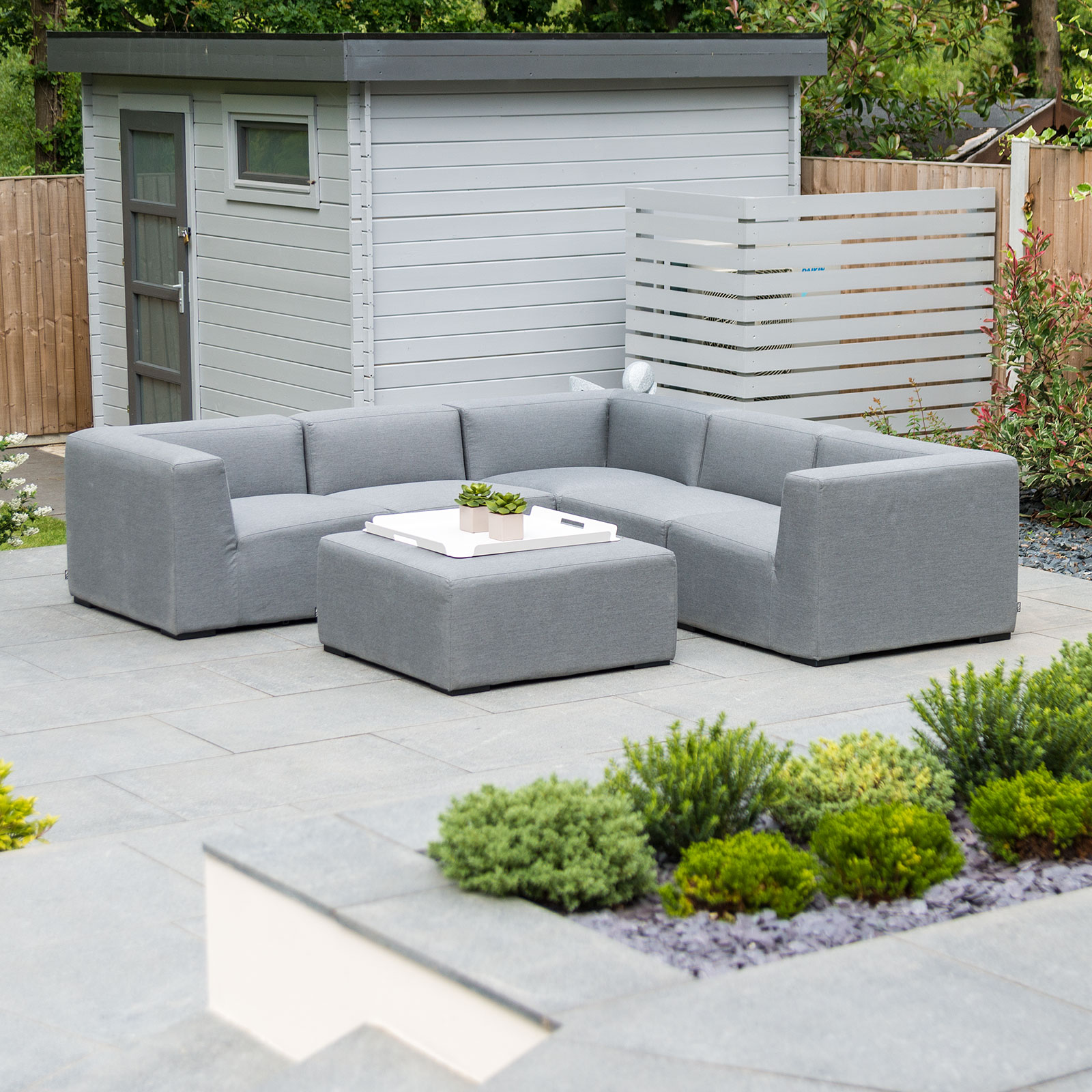 Toft Outdoor Fabric Corner Sofa Set With Stool