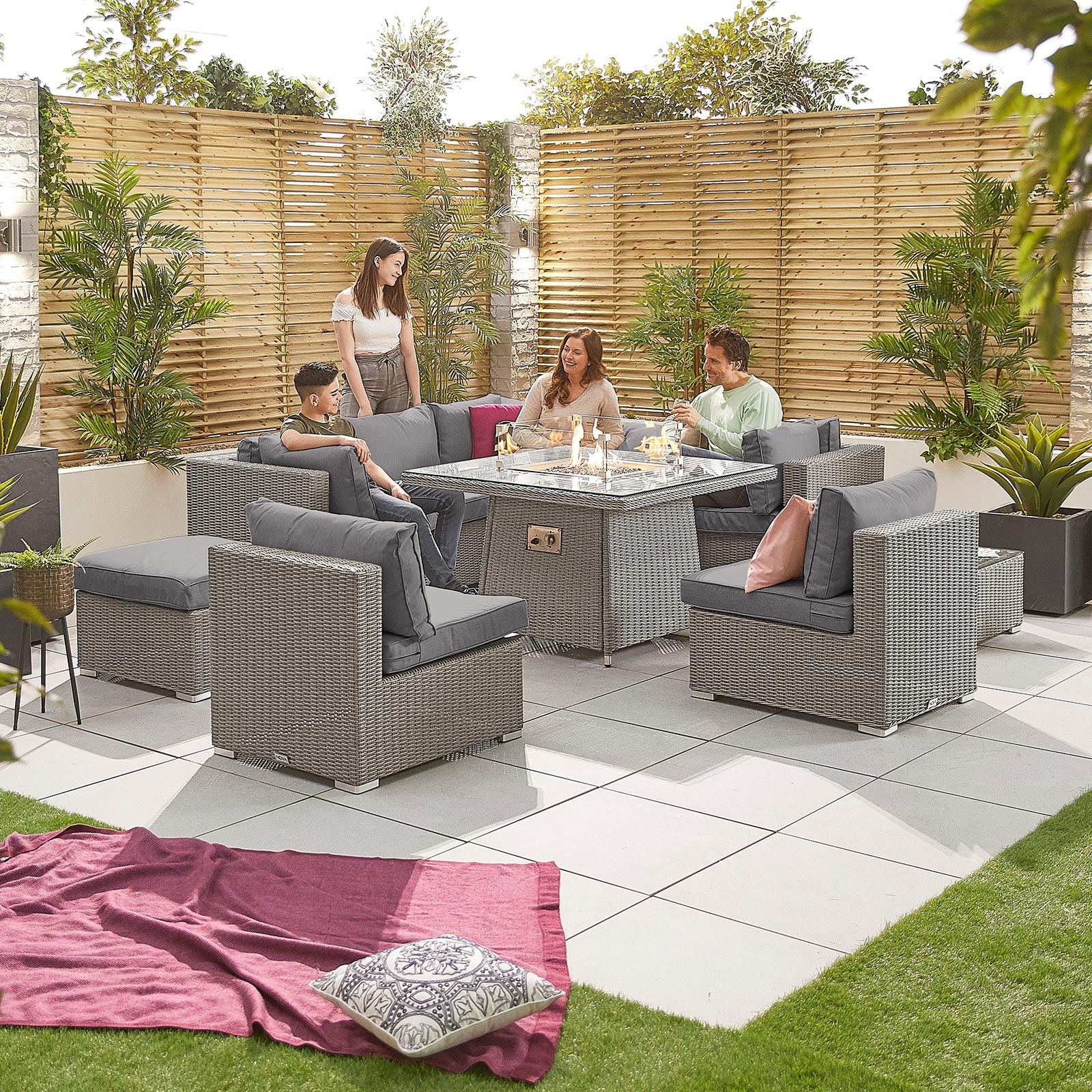 Chelsea 2c Rattan Corner Sofa Set With Gas Firepit Table