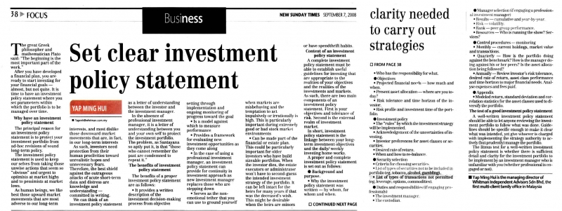 Set clear investment policy statement- 07 Sep 2008 » Whitman