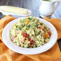 Quinoa Corn Salad with Avocado Dressing