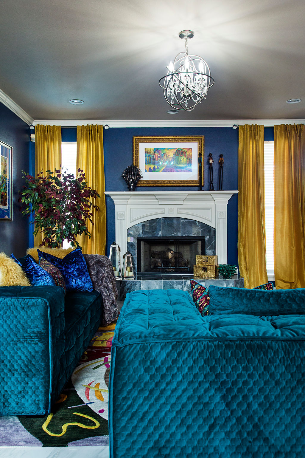 Green Living A Bold Blue And Green Living Room Reveal Whitney J Decor