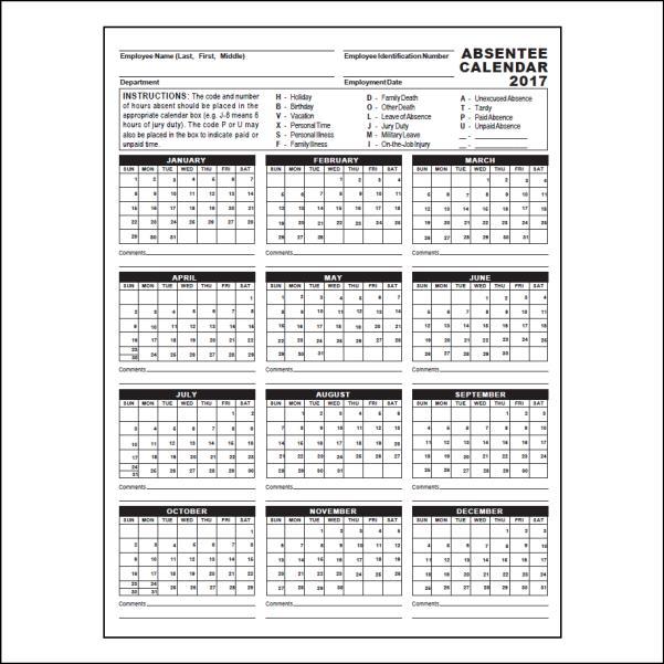 absentee calendar - Onwebioinnovate