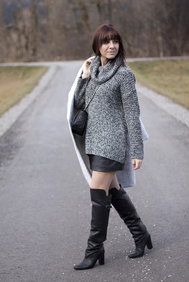 Outfit Mit Lederrock Outfit: Lederrock & Overknee-boots - Life Und Style Blog