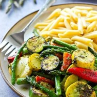 Summer Pesto Grilled Vegetables with Penne