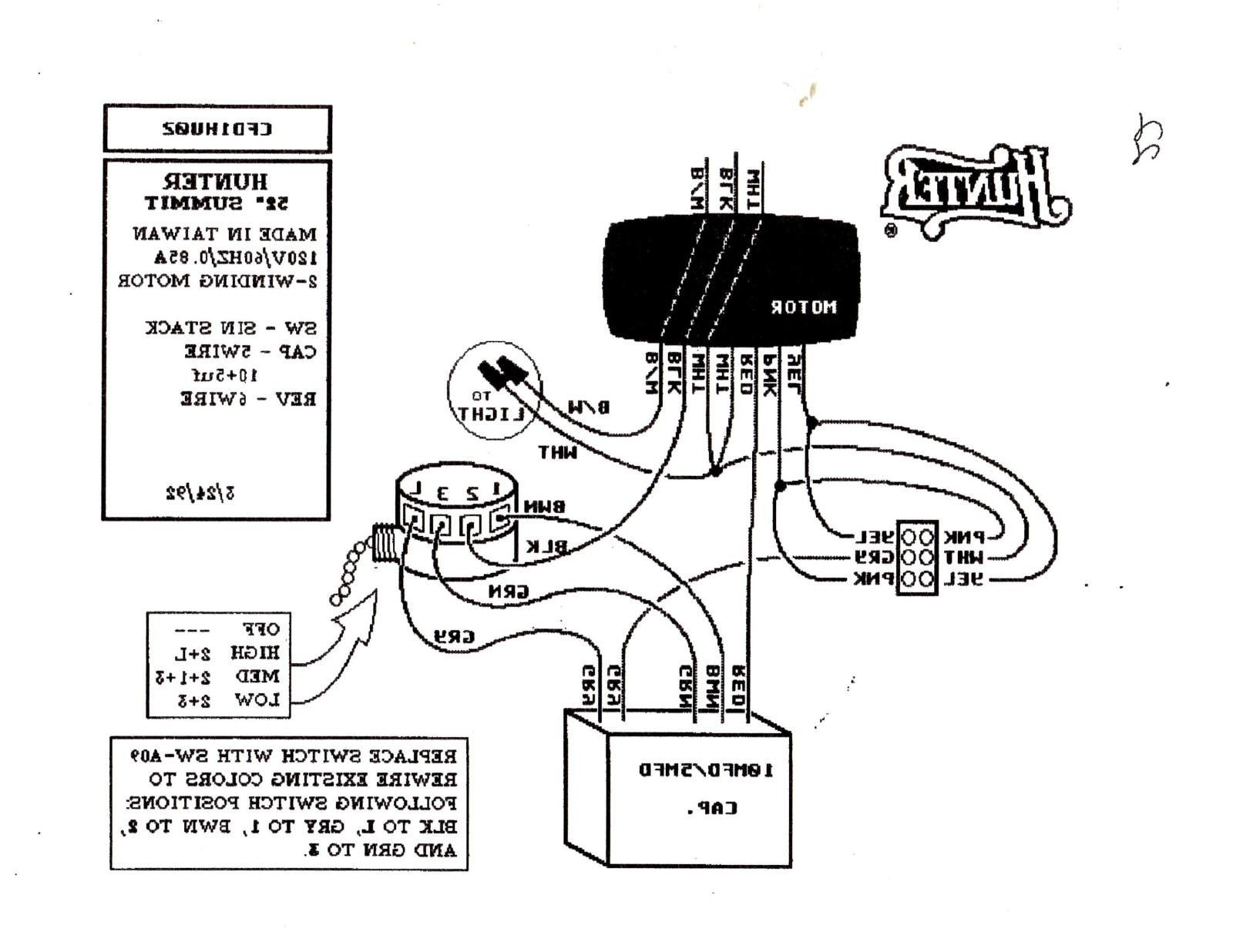 ceiling fan switch wiring diagram hunter