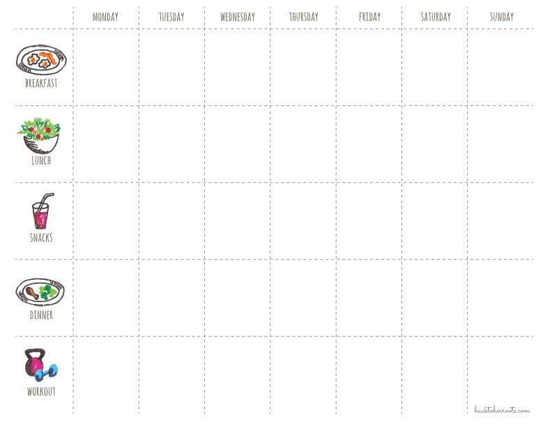 menu + exercise planner (free printable!) Wholefully