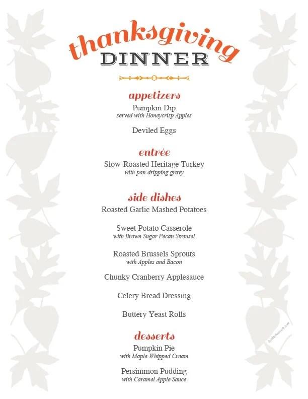 thanksgiving menu printable + holiday recipe roundup + free