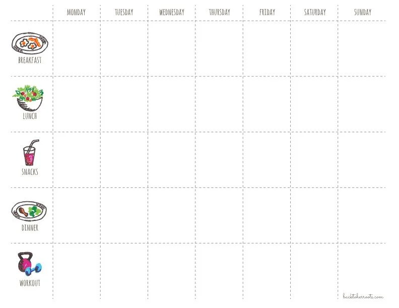 menu + exercise planner (free printable!) - Wholefully - weekly food chart template