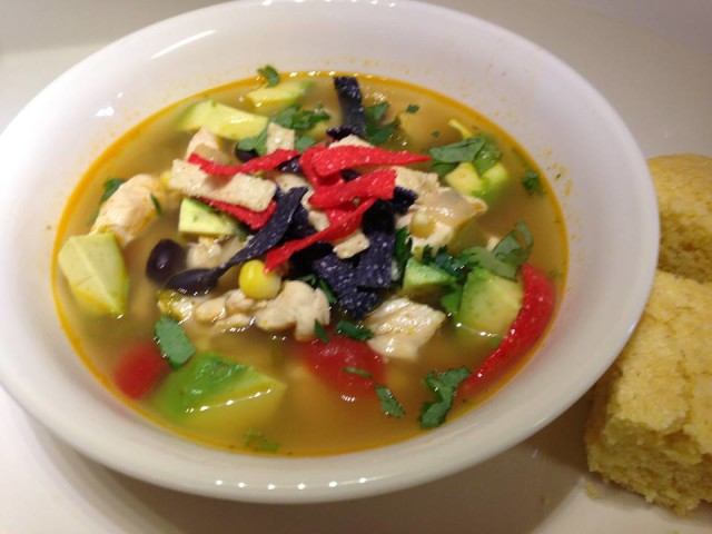 Chicken, Cilantro and Avocado Soup with Lime